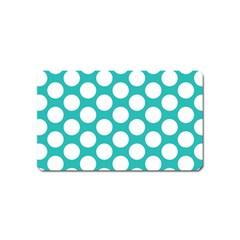Turquoise Polkadot Pattern Magnet (Name Card)