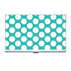 Turquoise Polkadot Pattern Business Card Holder