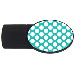 Turquoise Polkadot Pattern 1GB USB Flash Drive (Oval)