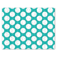 Turquoise Polkadot Pattern Jigsaw Puzzle (Rectangle)