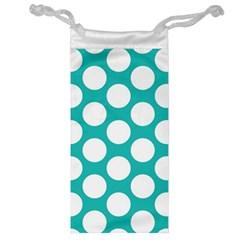 Turquoise Polkadot Pattern Jewelry Bag