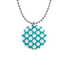 Turquoise Polkadot Pattern Button Necklace