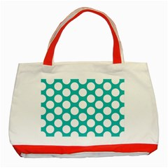 Turquoise Polkadot Pattern Classic Tote Bag (Red)