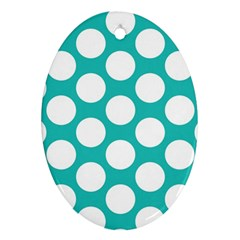 Turquoise Polkadot Pattern Oval Ornament (Two Sides)