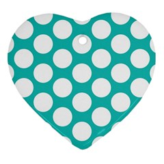 Turquoise Polkadot Pattern Heart Ornament (Two Sides)