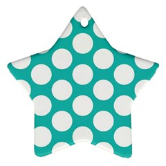 Turquoise Polkadot Pattern Star Ornament (Two Sides)