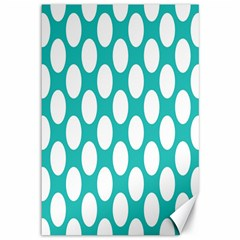 Turquoise Polkadot Pattern Canvas 12  x 18  (Unframed)