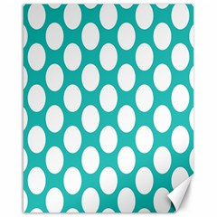Turquoise Polkadot Pattern Canvas 16  x 20  (Unframed)