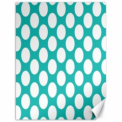 Turquoise Polkadot Pattern Canvas 18  x 24  (Unframed)