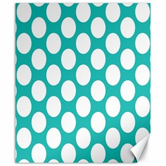 Turquoise Polkadot Pattern Canvas 20  x 24  (Unframed)