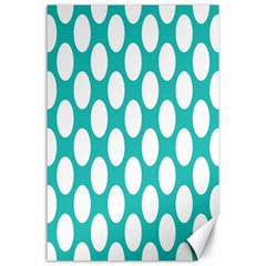 Turquoise Polkadot Pattern Canvas 24  x 36  (Unframed)