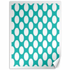 Turquoise Polkadot Pattern Canvas 36  x 48  (Unframed)