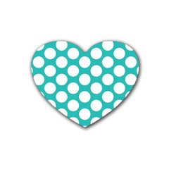 Turquoise Polkadot Pattern Drink Coasters (heart)