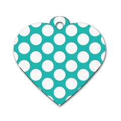 Turquoise Polkadot Pattern Dog Tag Heart (Two Sided)