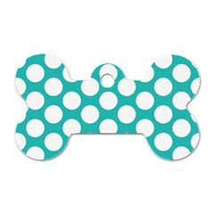 Turquoise Polkadot Pattern Dog Tag Bone (two Sided)