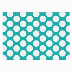 Turquoise Polkadot Pattern Glasses Cloth (large, Two Sided)
