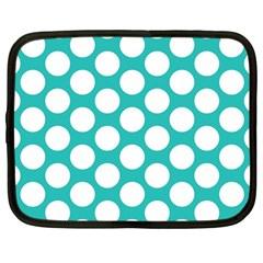 Turquoise Polkadot Pattern Netbook Sleeve (large)