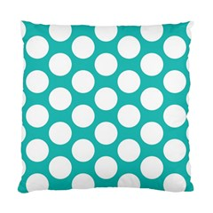 Turquoise Polkadot Pattern Cushion Case (Two Sided)