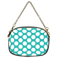 Turquoise Polkadot Pattern Chain Purse (two Sided)