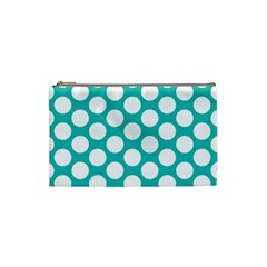 Turquoise Polkadot Pattern Cosmetic Bag (small)
