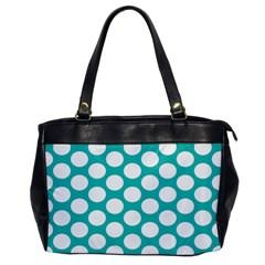 Turquoise Polkadot Pattern Oversize Office Handbag (one Side)