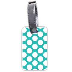 Turquoise Polkadot Pattern Luggage Tag (Two Sides)