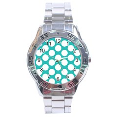 Turquoise Polkadot Pattern Stainless Steel Watch