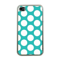 Turquoise Polkadot Pattern Apple Iphone 4 Case (clear)