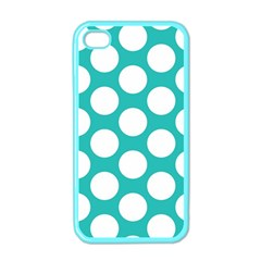 Turquoise Polkadot Pattern Apple Iphone 4 Case (color)