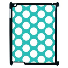 Turquoise Polkadot Pattern Apple iPad 2 Case (Black)