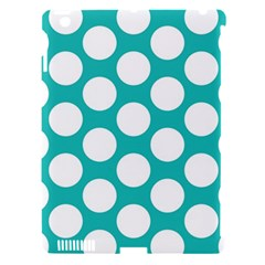 Turquoise Polkadot Pattern Apple Ipad 3/4 Hardshell Case (compatible With Smart Cover)