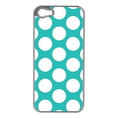 Turquoise Polkadot Pattern Apple iPhone 5 Case (Silver)