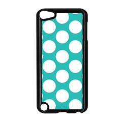 Turquoise Polkadot Pattern Apple iPod Touch 5 Case (Black)