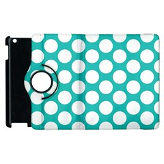 Turquoise Polkadot Pattern Apple iPad 3/4 Flip 360 Case