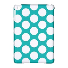 Turquoise Polkadot Pattern Apple Ipad Mini Hardshell Case (compatible With Smart Cover)
