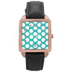Turquoise Polkadot Pattern Rose Gold Leather Watch