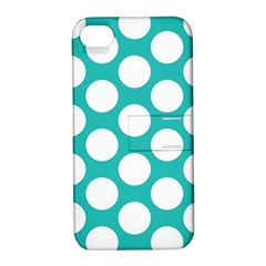 Turquoise Polkadot Pattern Apple iPhone 4/4S Hardshell Case with Stand
