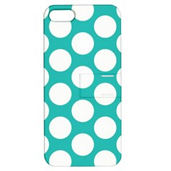 Turquoise Polkadot Pattern Apple Iphone 5 Hardshell Case With Stand