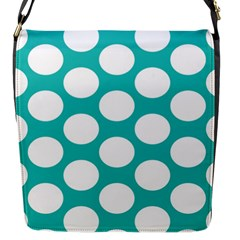 Turquoise Polkadot Pattern Flap Closure Messenger Bag (Small)
