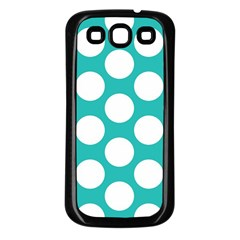 Turquoise Polkadot Pattern Samsung Galaxy S3 Back Case (Black)