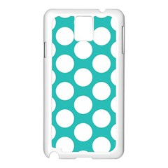 Turquoise Polkadot Pattern Samsung Galaxy Note 3 N9005 Case (White)