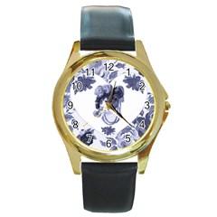 MISS KITTY Round Leather Watch (Gold Rim)