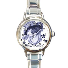 Miss Kitty blues Round Italian Charm Watch