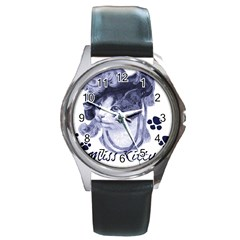 Miss Kitty blues Round Leather Watch (Silver Rim)
