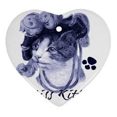 Miss Kitty blues Heart Ornament