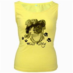 Miss Kitty blues Women s Tank Top (Yellow)