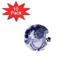 Miss Kitty blues 1  Mini Button Magnet (10 pack)