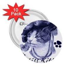 Miss Kitty blues 2.25  Button (10 pack)