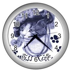 Miss Kitty Blues Wall Clock (silver)