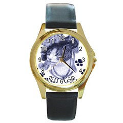 Miss Kitty blues Round Leather Watch (Gold Rim)